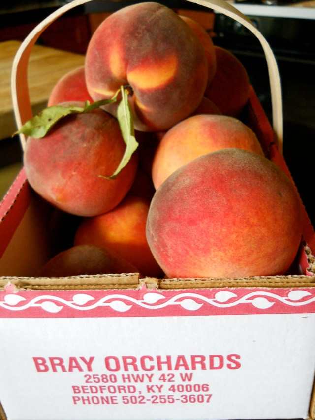 Bray Orchard Bedford Kentucky box of peaches