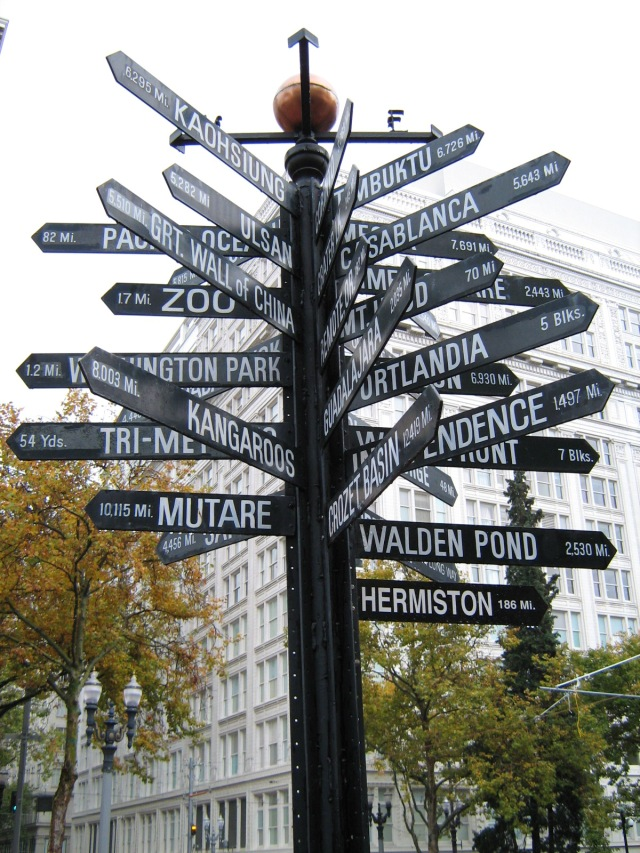 sign post with 20 different directions