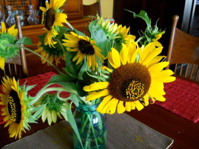 sunflower bouquet in blue mason jar